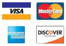 We Accept all four major credit cards: